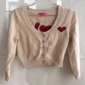 Betsey Johnson love ❤️ cropped cardie cardigan S.